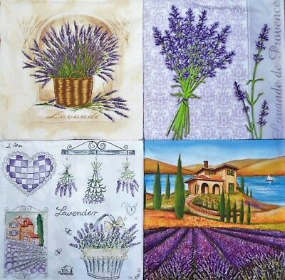 4 x Single Different Napkins Lavender Flowers for Decoupage Crafting w3