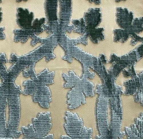 SCALAMANDRE Falk Manor House Aqua Ivory Velvet Remnant New