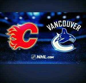 Flames vs Canucks Centre Ice Row 4, 2 or 4 Tickets