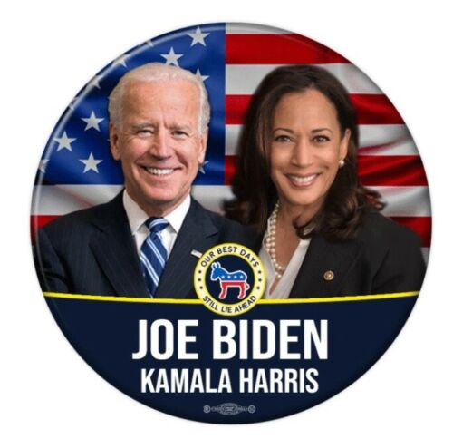 Joe Biden Kamala Harris For President American Flag 2.25 Inch Pinback Button Pin