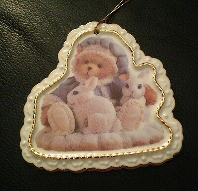 CHERISHED TEDDIES by Enesco Porcelain Hanging Ornament Bear With White Bunnies