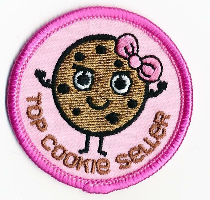 Girl Boy Cub TOP COOKIE SELLER PINK sales Fun Patches Crests Badges SCOUT GUIDES