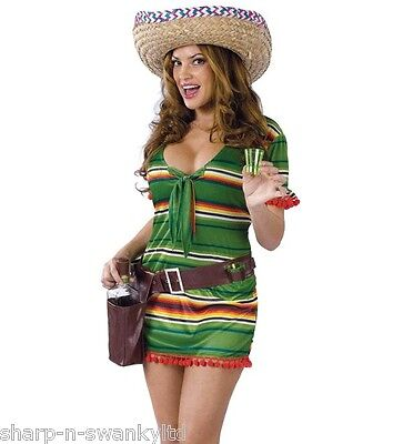 Ladies Sexy Mexican Girl Shot Glasses & Sombrero Hat Fancy Dress Costume Outfit](Shot Girl Costume)