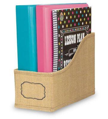 TCR 20835  Burlap Shabby Chic Book Bin Classroom Organization Station ](Classroom Book Bins)