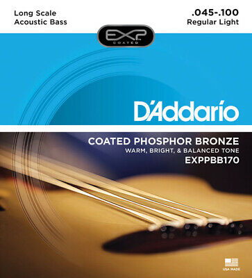 - D'ADDARIO EXPPBB170 COATED ACOUSTIC BASS STRINGS, MED GAUGE 4's 45-100