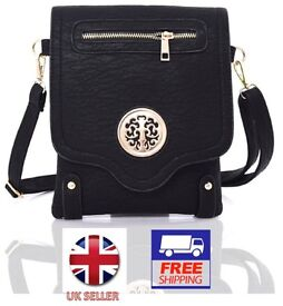 Ladies Brand New ~FAUX LEATHER~ Cross Body Bag With DESIGNER Fittings