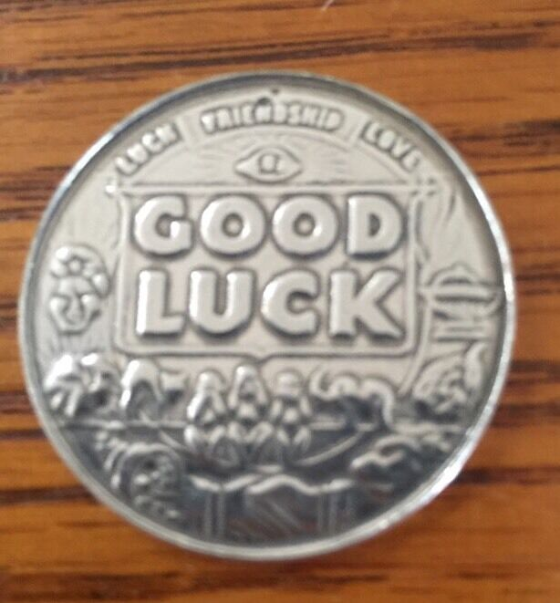 Good Luck Pocket Coin Lucky Charm Mojo Pewter Lead-free Silver-tone Made In U.S.