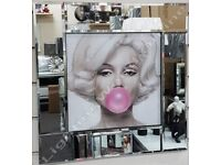 Marilyn Monroe OR Audrey Hepburn with bubble gum, crystals,liquid art & mirror frame pictures