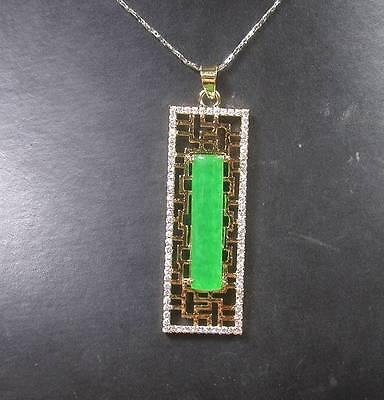 Gold Plate Green JADE Pendant Rectangle Longevity Diamond (Imitation) 268291 US - Gold Plate