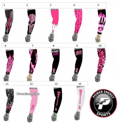 Pink Ribbon Breast Cancer Awareness Compression Baseball Football Arm Sleeve - Breast Cancer Football