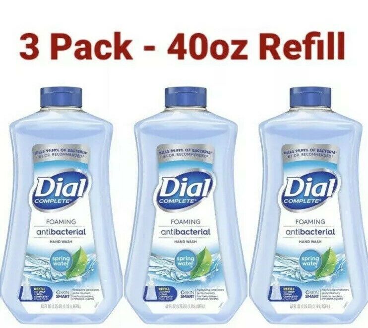 3 Dial Complete Foaming Hand Soap 40oz Refill, Spring Water Scent, 40oz x3