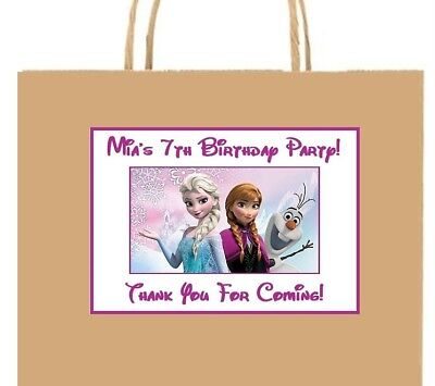 (18)Personalized Disney Frozen Party Stickers,Elsa,Anna,Birthday Labels Supplies
