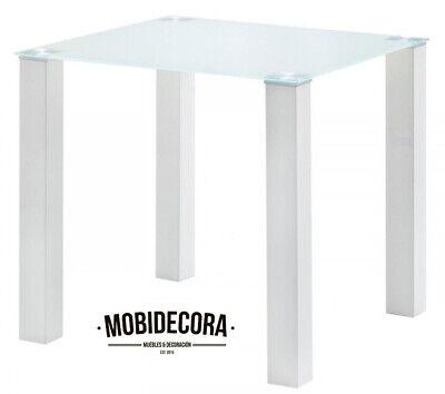 Mesa de comedor, patas madera lacadas blancas, tapa de cristal, mesa moderna