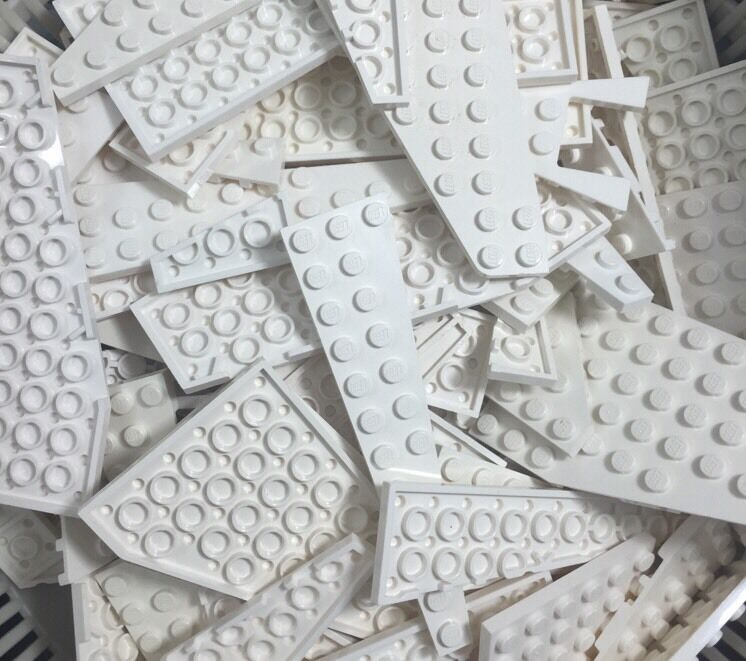 Lego Mixed Lot Of 25 Random White Wedge Rounded Corner Plates Bricks From Bulk