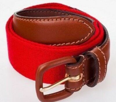 American Apparel Solid Red Web Belt Brown Leather Buckle S (26-28) NEW