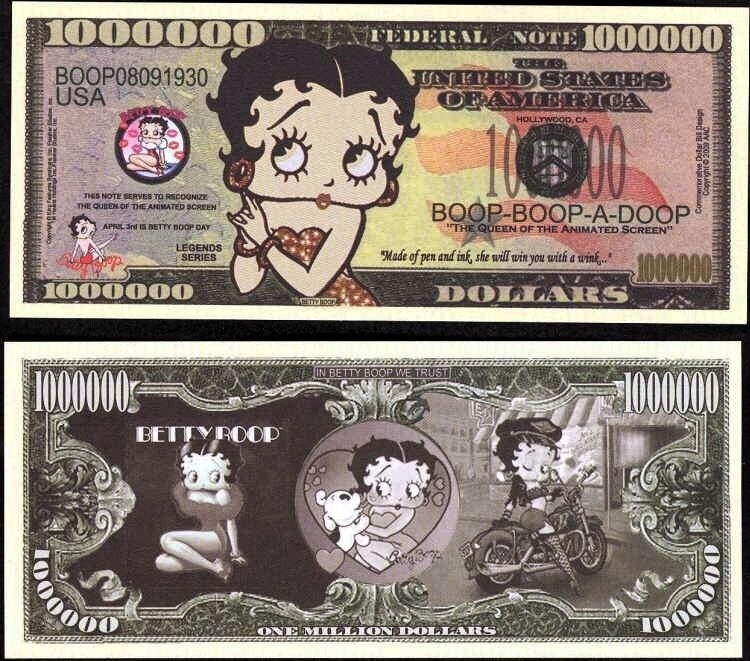 Bid on a Betty Boop Million Dollar Keepsake Bill & Support 'Toys for Tots'