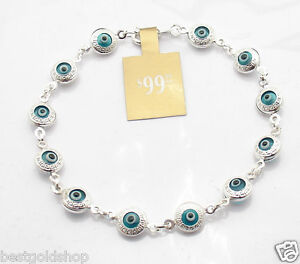 3D-Greek-Key-Ocean-Blue-Evil-Eye-Bracelet-Real-925-Sterling-Silver
