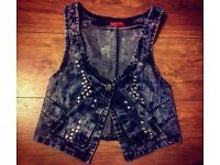 Tye Dye Denim Waistcoat With Studded Detail - Size - Med-Large