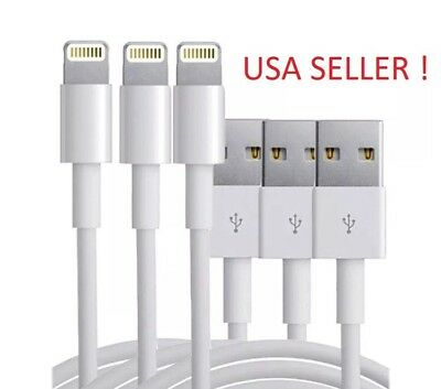 3-PACK USB Data Charging Charger Cables Cords For Apple iPhone 5 S 6 7 8 X Plus