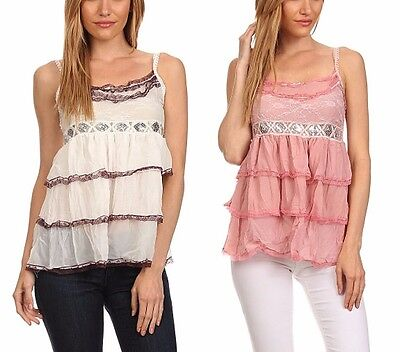 New Women's Romantic Tiered Baby Doll Sleeveless Lace Sequin Summer Tank Top ()