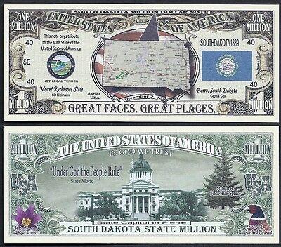 Lot of 500 BILLS - SOUTH DAKOTA STATE MILLION DOLLAR w MAP, SEAL, FLAG, CAPITOL