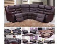 Recliner corner sofa/3 + 2 set/fabric sofa - less than £20 per week on finance