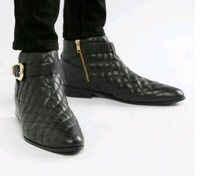 House Of Hounds Harpy Chelsea Boots In Black Quilted Leather SIZE UK 11