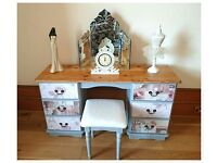 Romantic Vintage Shabby Chic French Cottage Dressing Table and Stool - Free Delivery