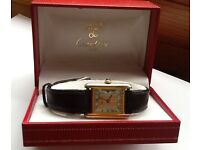 Must De Cartier Tank Tricolour 18ct Gold Vermeil Watch - Original Box/certificate/papers