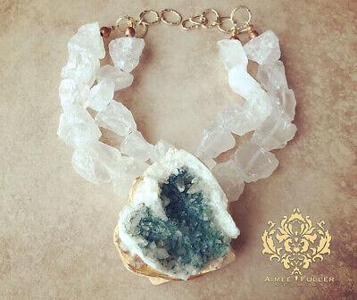Cristal Druzy Verde Azulado Geode XL Colgante Collar Icy Cuarzo Nuggets