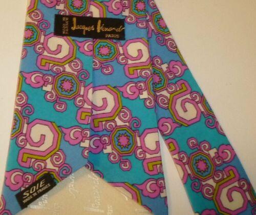 Vtg 1970s JACQUES LEONARD Paris blue pink MOD Psychedelic Silk wide TIE Necktie