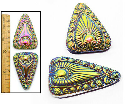 Fire Glass Collection (XL 45mm Vintage Czech Glass Egyptian Revival RAINBOW Fire AB Triangle Buttons 2p )
