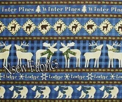 MOOSE BEAR Fabric Pine Tree Lodge Cotton Quilt Craft Fabric  -  BTY