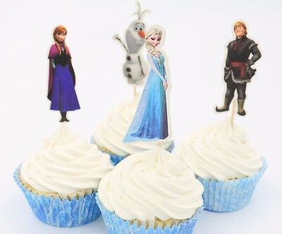24pcs Frozen Elsa Anna Princess Cupcake Toppers Kids Birthday Party Decorations (Frozen Elsa Party Decorations)