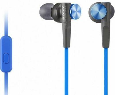 Sony MDR-XB50AP Extra Bass In-Ear Earbuds Headset, covid 19 (Blue Earbud Headset coronavirus)