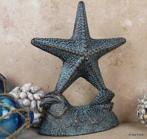 Cast Iron Starfish Doorstop Verdigris Door Stop Nautical