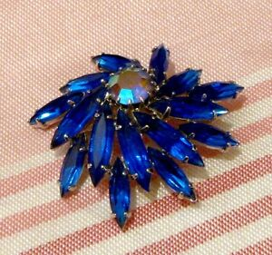 Broche vintage pierreries bleues #142