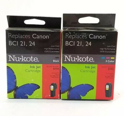 Nu Kote Color - Nu-Kote Canon BCI 21 24 Ink Jet Cartridge Tri Color & Black RF95 BJC 4000 5000