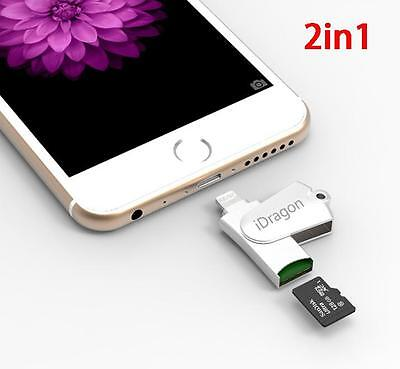 360° 2in1 USB 2.0 Micro SD TF OTG Card Reader Writer For iPhone 6s 7 sw