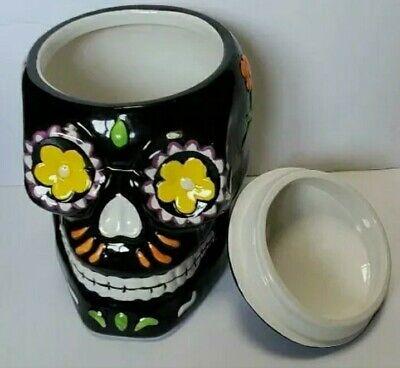Dia de Los Muertos Day of the Dead Sugar Skull Ceramic Cookie Jar 9 Inches