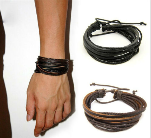 Bracelet - Fashion Women/Men Surfer Tribal Wrap Multilayer Genuine Leather Cuff Bracelet