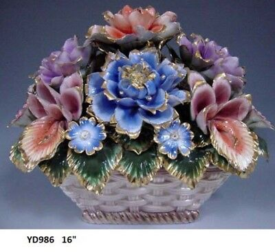 "Capodimonte Style Flower Basket Centerpiece 15"""