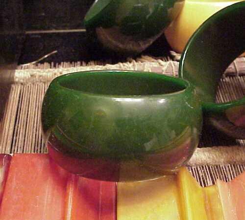 "Wide Bakelite Bracelet Dark Green 1 1/2"" Wide and Thick old"