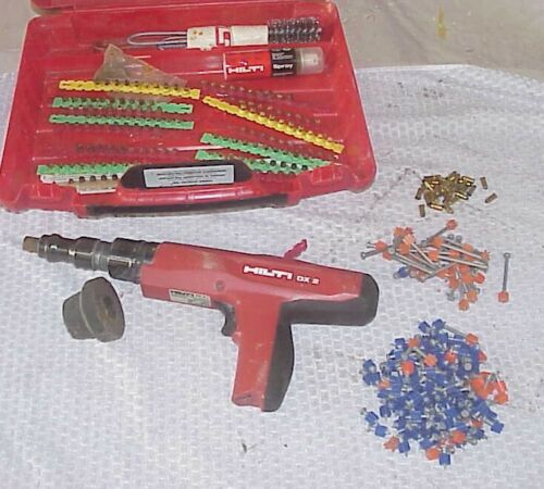 HILTI DX2 POWDER ACTUATED FASTENING TOOL - CASE & ACCESSORIES AMMO
