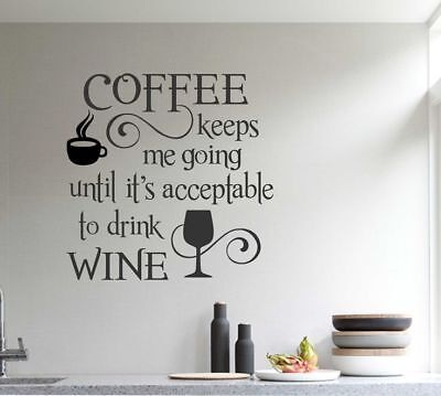 COFFEE WINE Kitchen Cafe Bar Wall Art Decal Quote Words Lettering Decor ()