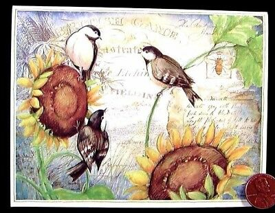 SUSAN WINGET  Cute Little Birds Sunflowers Bee Writing - Blank Note Card - NEW