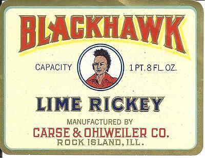 Blackhawk Lime Rickey Vintage Label by Carse & Ohlweiler of Rock Island Illinois