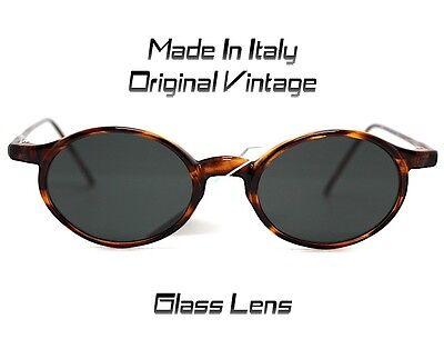 Made in Italy Sonnenbrille Sunglasses Rund Oval Herren Damen Weiß Tortoise