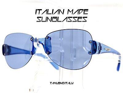 Sonnenbrille ohne Gestell Oval Objektiv Blau Schwarz Sonnenbrille Made in Italy