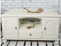LOW MEDIA TV BENCH CONSOLE WITH SIDEBOARD CUPBOARD & DRAWER STORAGE